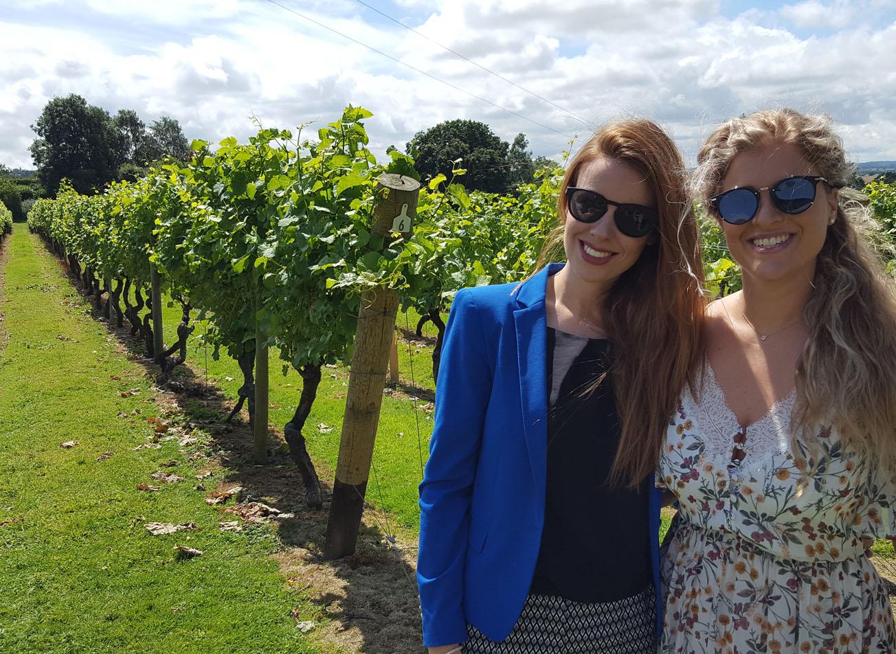 Two girls in vineyard